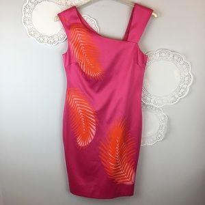 Cache Tropical Hot Pink Asymmetrical Dress Sz 10